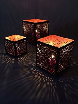 3er Set Orientalisches Windlicht Laterne orientalisch Aleyna 14cm Groß | Orientalische Vintage Teelichthalter Kupferfarben innen schwarz außen | Marokkanische Windlichter aus Metall als Dekoration - 1