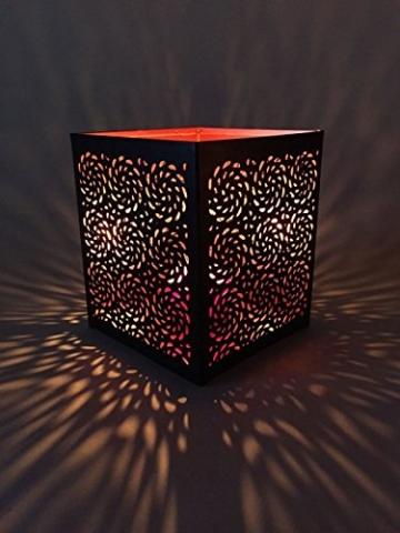 3er Set Orientalisches Windlicht Laterne orientalisch Aleyna 14cm Groß | Orientalische Vintage Teelichthalter Kupferfarben innen schwarz außen | Marokkanische Windlichter aus Metall als Dekoration - 4