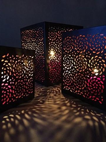 3er Set Orientalisches Windlicht Laterne orientalisch Aleyna 14cm Groß | Orientalische Vintage Teelichthalter Kupferfarben innen schwarz außen | Marokkanische Windlichter aus Metall als Dekoration - 6