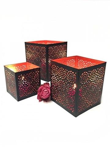 3er Set Orientalisches Windlicht Laterne orientalisch Aleyna 14cm Groß | Orientalische Vintage Teelichthalter Kupferfarben innen schwarz außen | Marokkanische Windlichter aus Metall als Dekoration - 7