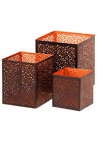 3er Set Orientalisches Windlicht Laterne orientalisch Aleyna 14cm Groß | Orientalische Vintage Teelichthalter Kupferfarben innen schwarz außen | Marokkanische Windlichter aus Metall als Dekoration - 8