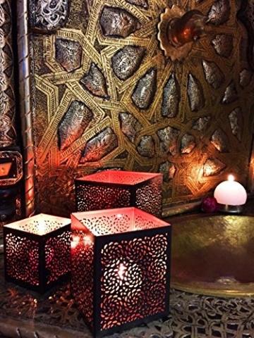 3er Set Orientalisches Windlicht Laterne orientalisch Aleyna 14cm Groß | Orientalische Vintage Teelichthalter Kupferfarben innen schwarz außen | Marokkanische Windlichter aus Metall als Dekoration - 9