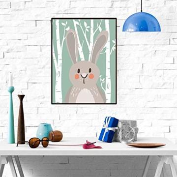 4er Set Kinderzimmer Babyzimmer Poster Bilder Din A4 | Mädchen Junge Deko | Dekoration Kinderzimmer | Waldtiere Safari Skandinavisch(Bär,Kaninchen,Fuchs) Grüner Boden - 2