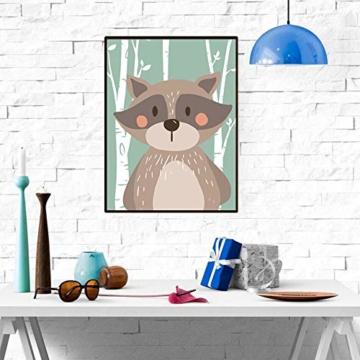 4er Set Kinderzimmer Babyzimmer Poster Bilder Din A4 | Mädchen Junge Deko | Dekoration Kinderzimmer | Waldtiere Safari Skandinavisch(Bär,Kaninchen,Fuchs) Grüner Boden - 3