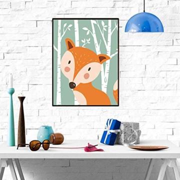 4er Set Kinderzimmer Babyzimmer Poster Bilder Din A4 | Mädchen Junge Deko | Dekoration Kinderzimmer | Waldtiere Safari Skandinavisch(Bär,Kaninchen,Fuchs) Grüner Boden - 4