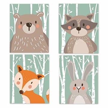 4er Set Kinderzimmer Babyzimmer Poster Bilder Din A4 | Mädchen Junge Deko | Dekoration Kinderzimmer | Waldtiere Safari Skandinavisch(Bär,Kaninchen,Fuchs) Grüner Boden - 1