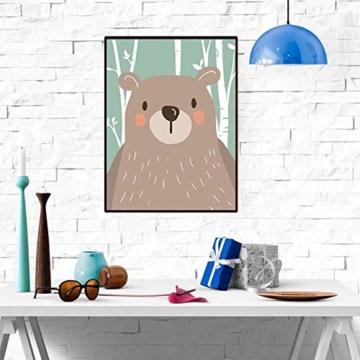 4er Set Kinderzimmer Babyzimmer Poster Bilder Din A4 | Mädchen Junge Deko | Dekoration Kinderzimmer | Waldtiere Safari Skandinavisch(Bär,Kaninchen,Fuchs) Grüner Boden - 5