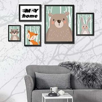 4er Set Kinderzimmer Babyzimmer Poster Bilder Din A4 | Mädchen Junge Deko | Dekoration Kinderzimmer | Waldtiere Safari Skandinavisch(Bär,Kaninchen,Fuchs) Grüner Boden - 6
