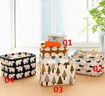 Ciaoed Leinen Speicher Organizer Sets (Wal, Eisbär, Igel, Bäume) Kleine Baby Stoff Aufbewahrungsbox Organizer mit 2 Griffen auf beiden Seiten 20.5x17x15cm -Sets von 4 - 2