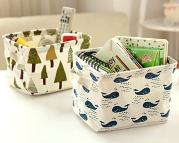 Ciaoed Leinen Speicher Organizer Sets (Wal, Eisbär, Igel, Bäume) Kleine Baby Stoff Aufbewahrungsbox Organizer mit 2 Griffen auf beiden Seiten 20.5x17x15cm -Sets von 4 - 3