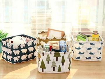 Ciaoed Leinen Speicher Organizer Sets (Wal, Eisbär, Igel, Bäume) Kleine Baby Stoff Aufbewahrungsbox Organizer mit 2 Griffen auf beiden Seiten 20.5x17x15cm -Sets von 4 - 4