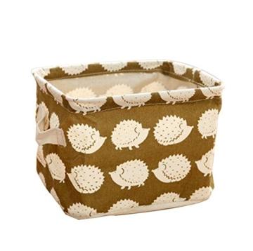Ciaoed Leinen Speicher Organizer Sets (Wal, Eisbär, Igel, Bäume) Kleine Baby Stoff Aufbewahrungsbox Organizer mit 2 Griffen auf beiden Seiten 20.5x17x15cm -Sets von 4 - 9