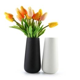 ComSaf 20cm Matte Blumenvasen Keramik Hoch, Porzellan Tischvasen, Schwarz und Weiß 2er-Set - 1