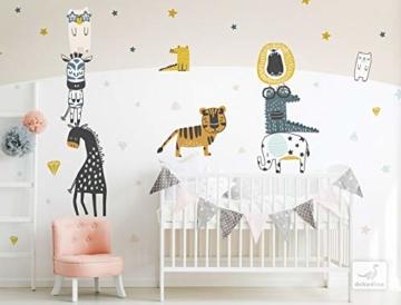 dekodino® Wandtattoo Pastell Safari Tiere Elefant Löwe Wanddeko Set - 2