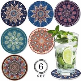 DINGHENG Untersetzer Saugfähige Keramik Untersetzer mit Korkrücken Mandala Stil für Tassen Tisch Bar Glas 6er Set - 1