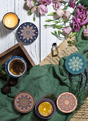 DINGHENG Untersetzer Saugfähige Keramik Untersetzer mit Korkrücken Mandala Stil für Tassen Tisch Bar Glas 6er Set - 7