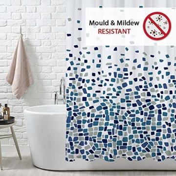 Duschvorhang, Badezimmer, Badewanne, Umweltfreundlich, Waschbarer, Anti-Schimmel, Anti-Bakteriell, Schimmelresistent Duschvorhang - Mosaik gemustert -Blau- 180 x 180 cm (71 x 71 Zoll) | 100% Polyester - 2
