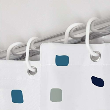 Duschvorhang, Badezimmer, Badewanne, Umweltfreundlich, Waschbarer, Anti-Schimmel, Anti-Bakteriell, Schimmelresistent Duschvorhang - Mosaik gemustert -Blau- 180 x 180 cm (71 x 71 Zoll) | 100% Polyester - 4