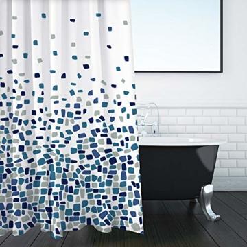 Duschvorhang, Badezimmer, Badewanne, Umweltfreundlich, Waschbarer, Anti-Schimmel, Anti-Bakteriell, Schimmelresistent Duschvorhang - Mosaik gemustert -Blau- 180 x 180 cm (71 x 71 Zoll) | 100% Polyester - 5