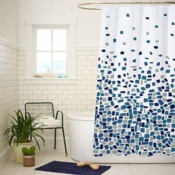 Duschvorhang, Badezimmer, Badewanne, Umweltfreundlich, Waschbarer, Anti-Schimmel, Anti-Bakteriell, Schimmelresistent Duschvorhang - Mosaik gemustert -Blau- 180 x 180 cm (71 x 71 Zoll) | 100% Polyester - 7