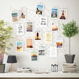 ecooe Foto hängende Wanddekoration Collage DIY Bilderrahmen Wanddekoration, Größe S Fischernetz mit 40 Holzklammern und 10 spurlosen Nägeln Fotoaufhängung 60 * 60cm(wenn komplett auseinandergezogen) - 1
