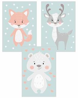 Edition Seidel 3er Set Kinderzimmer Poster Babyzimmer DIN A4 ohne Bilderrahmen. Kinderposter Kunstdruck Bild Wandbilder Dekoration Mädchen Junge (Set 1) - 1