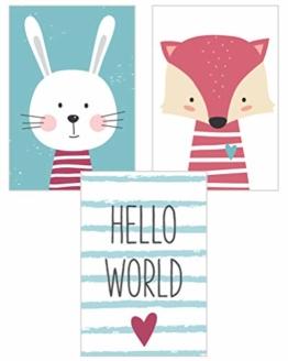 Edition Seidel 3er Set Kinderzimmer Poster Babyzimmer DIN A4 ohne Bilderrahmen. Kinderposter Kunstdruck Bild Wandbilder Dekoration Mädchen Junge (Set 6) - 1