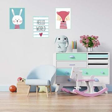 Edition Seidel 3er Set Kinderzimmer Poster Babyzimmer DIN A4 ohne Bilderrahmen. Kinderposter Kunstdruck Bild Wandbilder Dekoration Mädchen Junge (Set 6) - 3