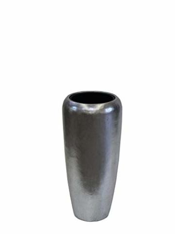 Edle & Hochwertige Pflanzvase/Pflanzkübel - Fiberglas - Mit Einsatz – Indoor – Metallic/Metallisch Blumenkübel/Pflanzgefäß/Vase/Kübel (Klein: 75cm, Silber) - 2