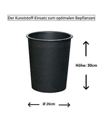 Edle & Hochwertige Pflanzvase/Pflanzkübel - Fiberglas - Mit Einsatz – Indoor – Metallic/Metallisch Blumenkübel/Pflanzgefäß/Vase/Kübel (Klein: 75cm, Silber) - 4