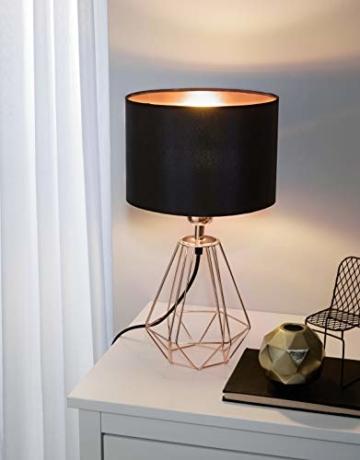 EGLO Tischlampe Carlton 2, 1 flammige Vintage Tischleuchte, Nachttischlampe aus Stahl und Stoff, Farbe: Kupfer, schwarz, Fassung: E14, inkl. Schalter - 2