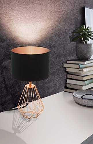 EGLO Tischlampe Carlton 2, 1 flammige Vintage Tischleuchte, Nachttischlampe aus Stahl und Stoff, Farbe: Kupfer, schwarz, Fassung: E14, inkl. Schalter - 3