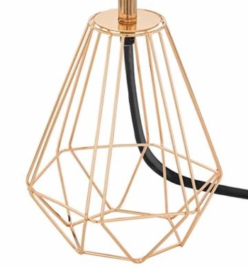 EGLO Tischlampe Carlton 2, 1 flammige Vintage Tischleuchte, Nachttischlampe aus Stahl und Stoff, Farbe: Kupfer, schwarz, Fassung: E14, inkl. Schalter - 4