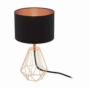 EGLO Tischlampe Carlton 2, 1 flammige Vintage Tischleuchte, Nachttischlampe aus Stahl und Stoff, Farbe: Kupfer, schwarz, Fassung: E14, inkl. Schalter - 1