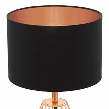 EGLO Tischlampe Carlton 2, 1 flammige Vintage Tischleuchte, Nachttischlampe aus Stahl und Stoff, Farbe: Kupfer, schwarz, Fassung: E14, inkl. Schalter - 5