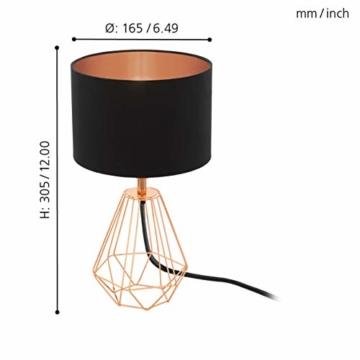 EGLO Tischlampe Carlton 2, 1 flammige Vintage Tischleuchte, Nachttischlampe aus Stahl und Stoff, Farbe: Kupfer, schwarz, Fassung: E14, inkl. Schalter - 6