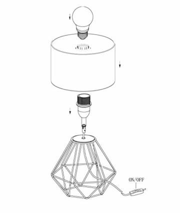 EGLO Tischlampe Carlton 2, 1 flammige Vintage Tischleuchte, Nachttischlampe aus Stahl und Stoff, Farbe: Kupfer, schwarz, Fassung: E14, inkl. Schalter - 7