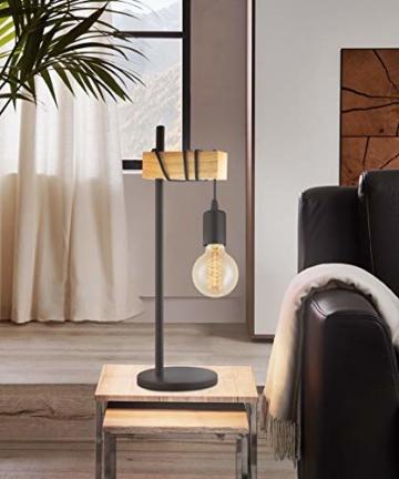 EGLO Tischlampe Townshend, 1 flammige Vintage Tischleuchte im Industrial Design, Retro Lampe, Nachttischlampe aus Stahl und Holz, Farbe: Schwarz, braun, Fassung: E27, inkl. Schalter - 2