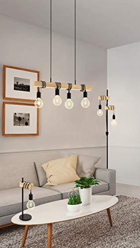 EGLO Tischlampe Townshend, 1 flammige Vintage Tischleuchte im Industrial Design, Retro Lampe, Nachttischlampe aus Stahl und Holz, Farbe: Schwarz, braun, Fassung: E27, inkl. Schalter - 3