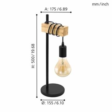 EGLO Tischlampe Townshend, 1 flammige Vintage Tischleuchte im Industrial Design, Retro Lampe, Nachttischlampe aus Stahl und Holz, Farbe: Schwarz, braun, Fassung: E27, inkl. Schalter - 5