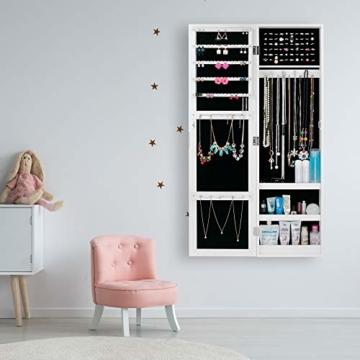 Ezigoo Schmuckschrank mit Spiegel – Schmuckregal zum Aufhängen an Wänden oder Türen - 2