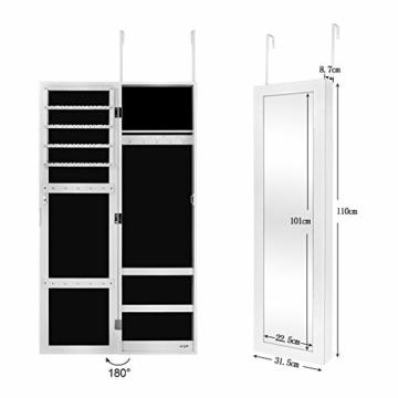 Ezigoo Schmuckschrank mit Spiegel – Schmuckregal zum Aufhängen an Wänden oder Türen - 4