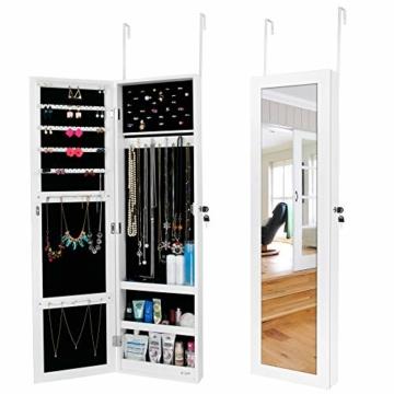 Ezigoo Schmuckschrank mit Spiegel – Schmuckregal zum Aufhängen an Wänden oder Türen - 1