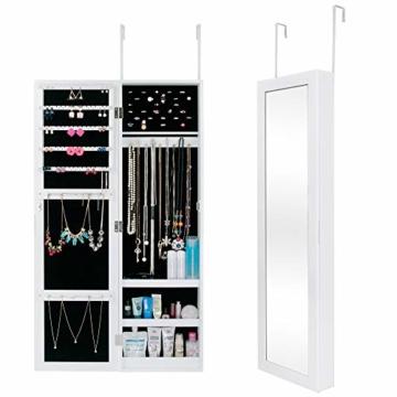 Ezigoo Schmuckschrank mit Spiegel – Schmuckregal zum Aufhängen an Wänden oder Türen - 9