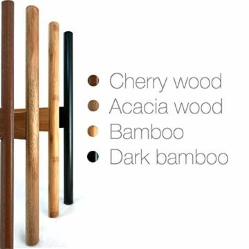 FOX & FERN Mid-Century-Stil Pflanzenständer - In der Breite einstellbar von 20cm bis 30cm - Bambus - OHNE Weißer keramischer Übertopf - 2
