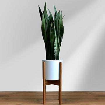 FOX & FERN Mid-Century-Stil Pflanzenständer - In der Breite einstellbar von 20cm bis 30cm - Bambus - OHNE Weißer keramischer Übertopf - 3