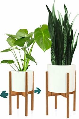 FOX & FERN Mid-Century-Stil Pflanzenständer - In der Breite einstellbar von 20cm bis 30cm - Bambus - OHNE Weißer keramischer Übertopf - 1