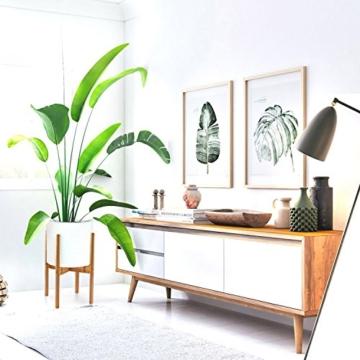 FOX & FERN Mid-Century-Stil Pflanzenständer - In der Breite einstellbar von 20cm bis 30cm - Bambus - OHNE Weißer keramischer Übertopf - 6