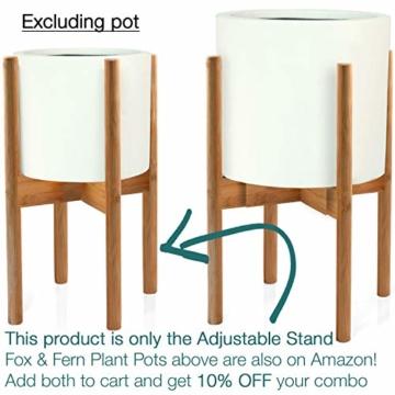 FOX & FERN Mid-Century-Stil Pflanzenständer - In der Breite einstellbar von 20cm bis 30cm - Bambus - OHNE Weißer keramischer Übertopf - 7