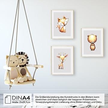 Frechdax® 3er Set Kinderzimmer Babyzimmer Poster Bilder DIN A4   Mädchen Junge Deko   Dekoration Kinderzimmer   Waldtiere REH Fuchs Hase (3er Set Sterne,Fuchs,Bär,REH) - 2